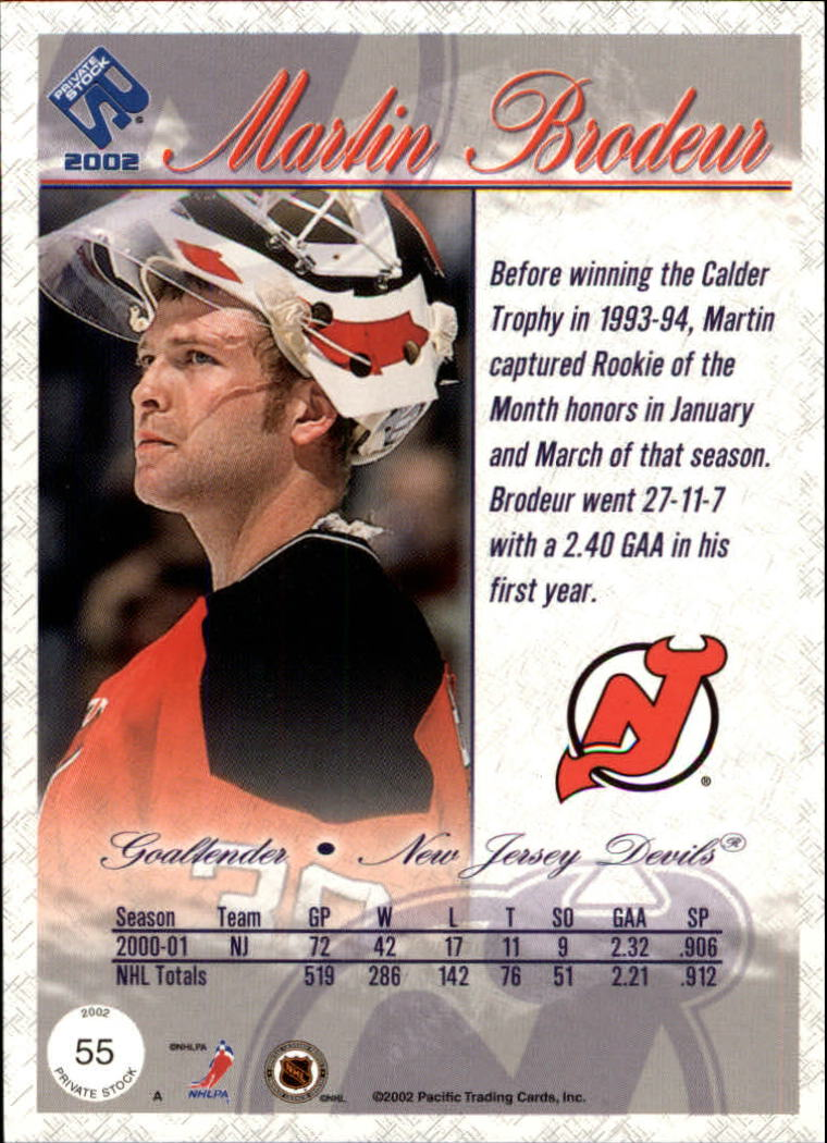 2001-02 Private Stock #55 Martin Brodeur back image