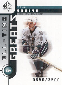 2001-02 SP Authentic #91 Paul Kariya ATG