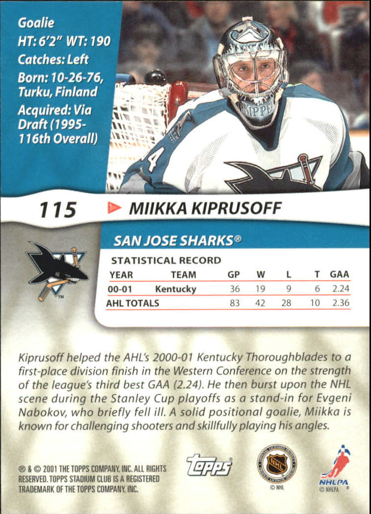 2001-02 Stadium Club Master Photos #115 Miikka Kiprusoff PP back image