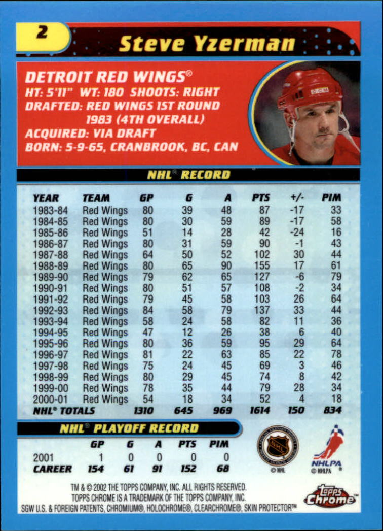 2001-02 Topps Chrome #2 Steve Yzerman back image