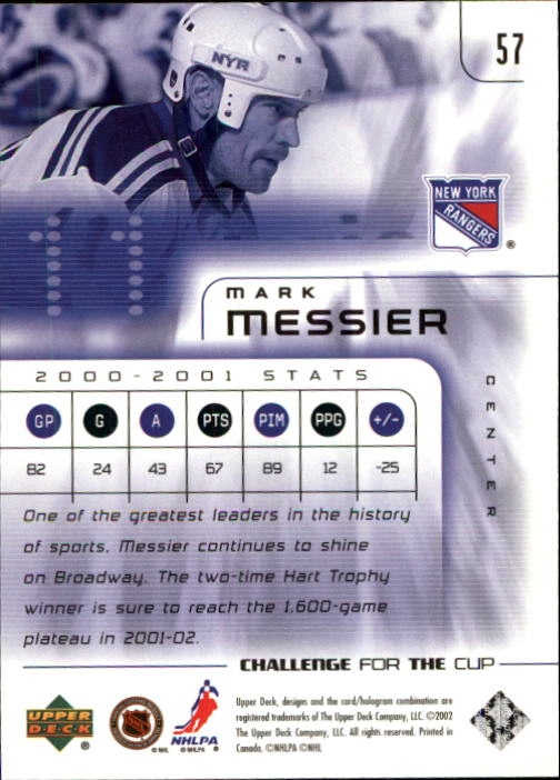 2001-02 UD Challenge for the Cup #57 Mark Messier back image