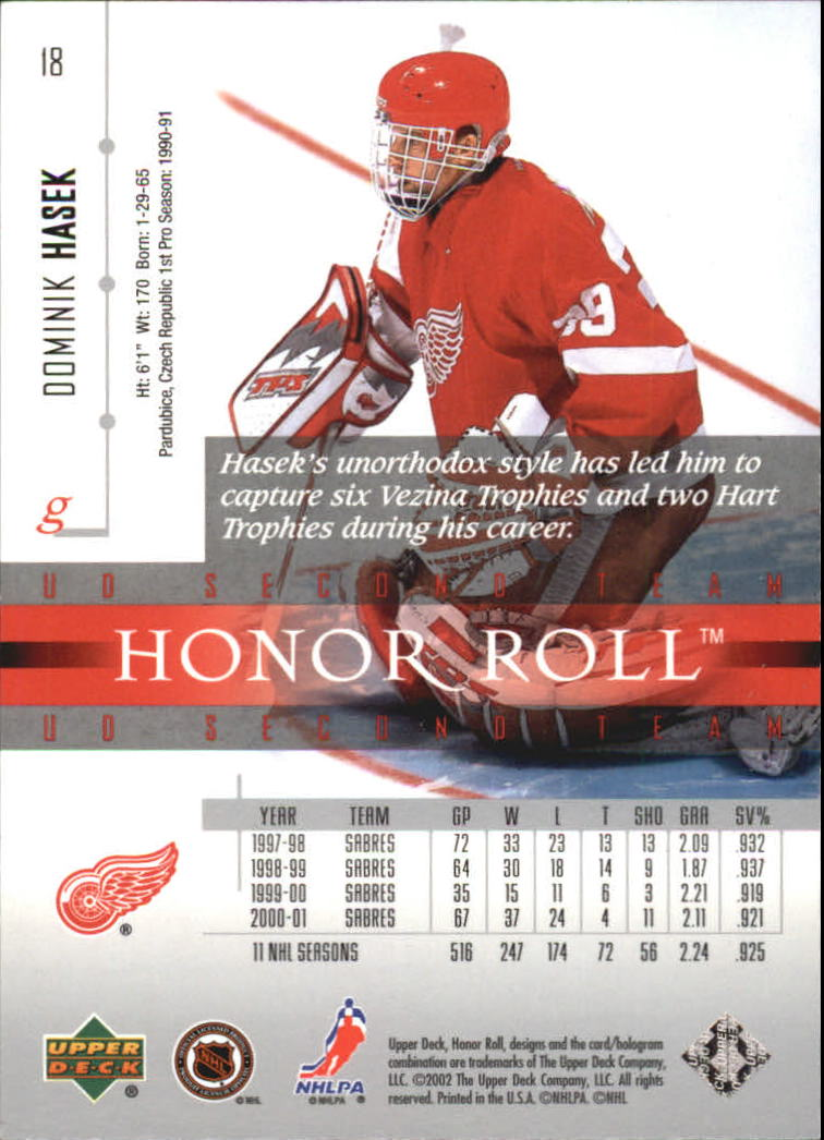 2001-02 Upper Deck Honor Roll #18 Dominik Hasek back image