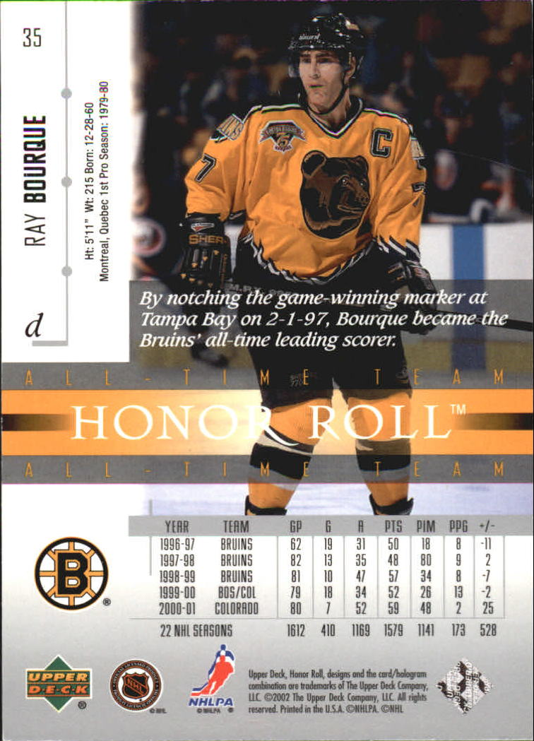 2001-02 Upper Deck Honor Roll #35 Ray Bourque back image