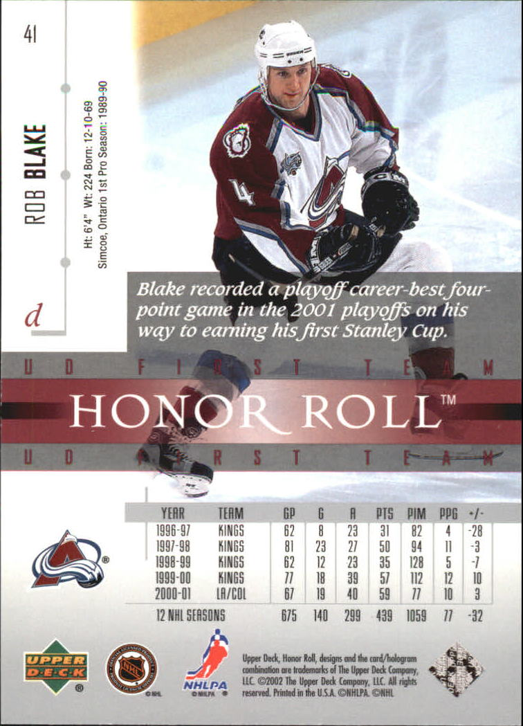 2001-02 Upper Deck Honor Roll #41 Rob Blake back image