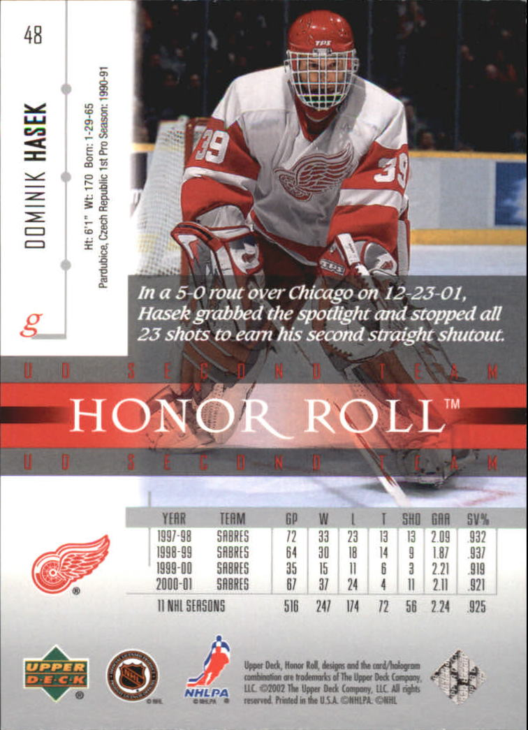2001-02 Upper Deck Honor Roll #48 Dominik Hasek back image