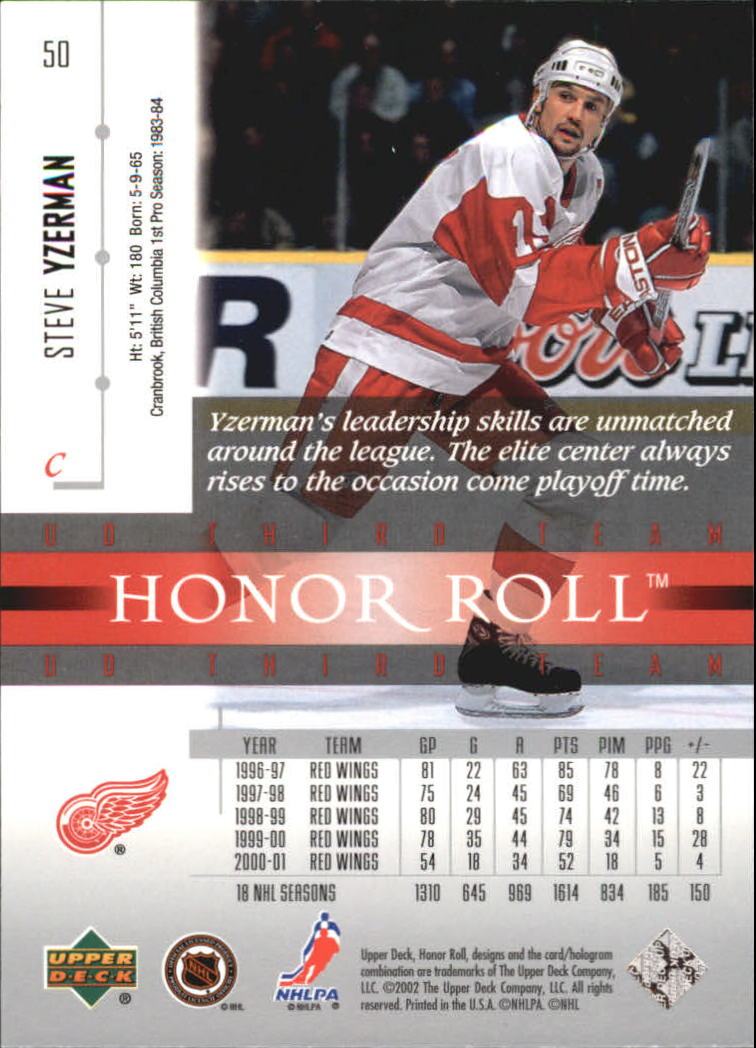2001-02 Upper Deck Honor Roll #50 Steve Yzerman back image