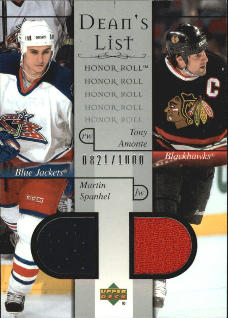 2001-02 Upper Deck Honor Roll #91 Martin Spanhel RC/Tony Amonte JSY