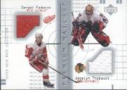 2001-02 UD Mask Collection Dual Jerseys #PMFT Sergei Fedorov/Jocelyn Thibault