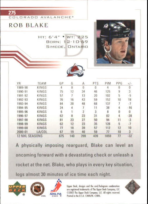 2001-02 Upper Deck #275 Rob Blake back image