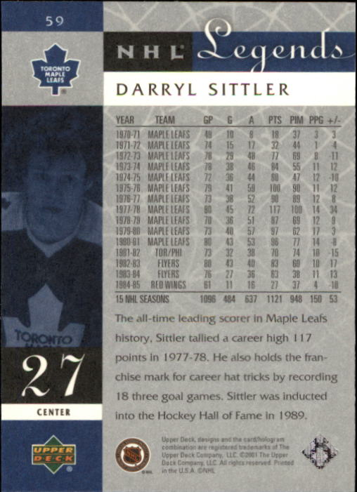 2001-02 Upper Deck Legends #59 Darryl Sittler back image
