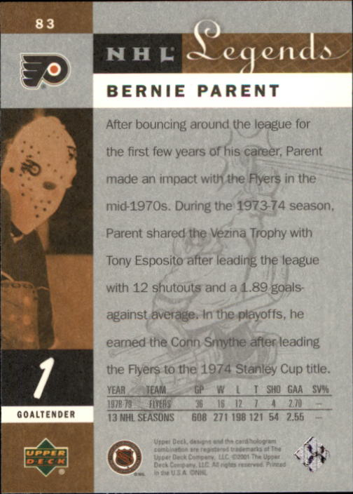 2001-02 Upper Deck Legends #83 Bernie Parent back image