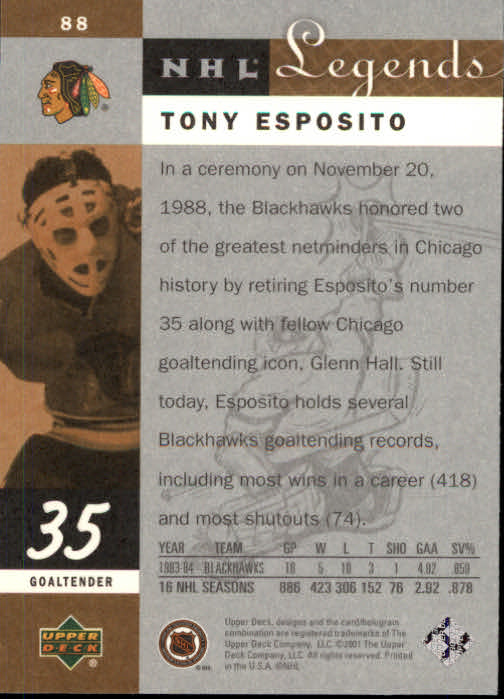 2001-02 Upper Deck Legends #88 Tony Esposito back image