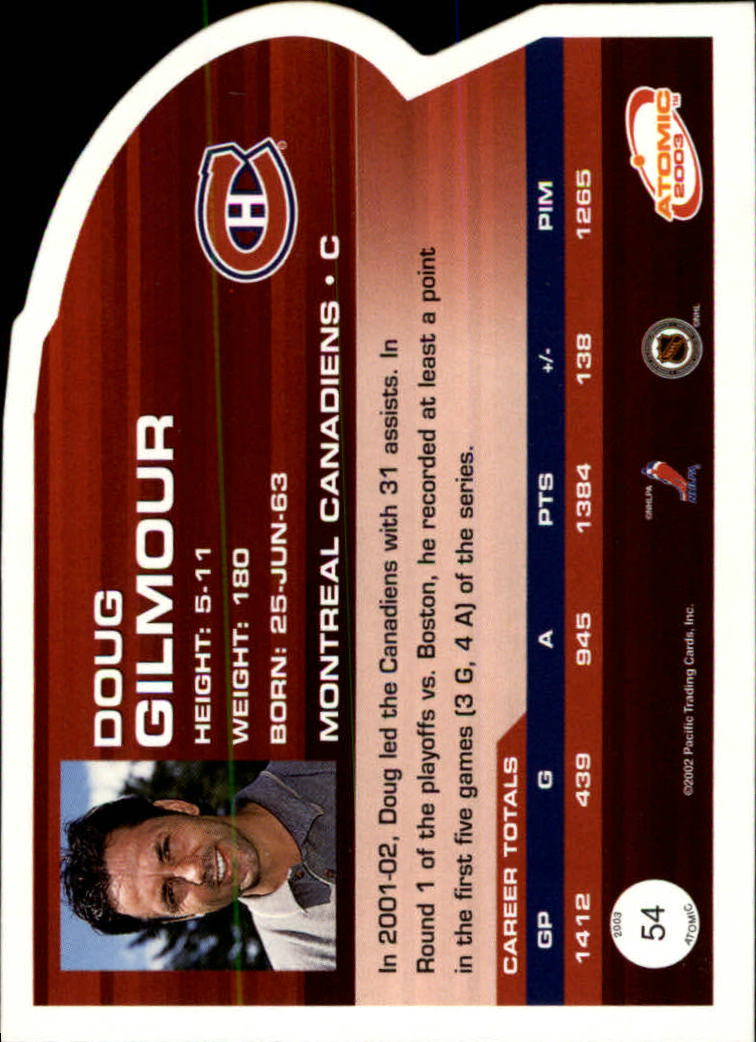 2002-03 Atomic #54 Doug Gilmour back image