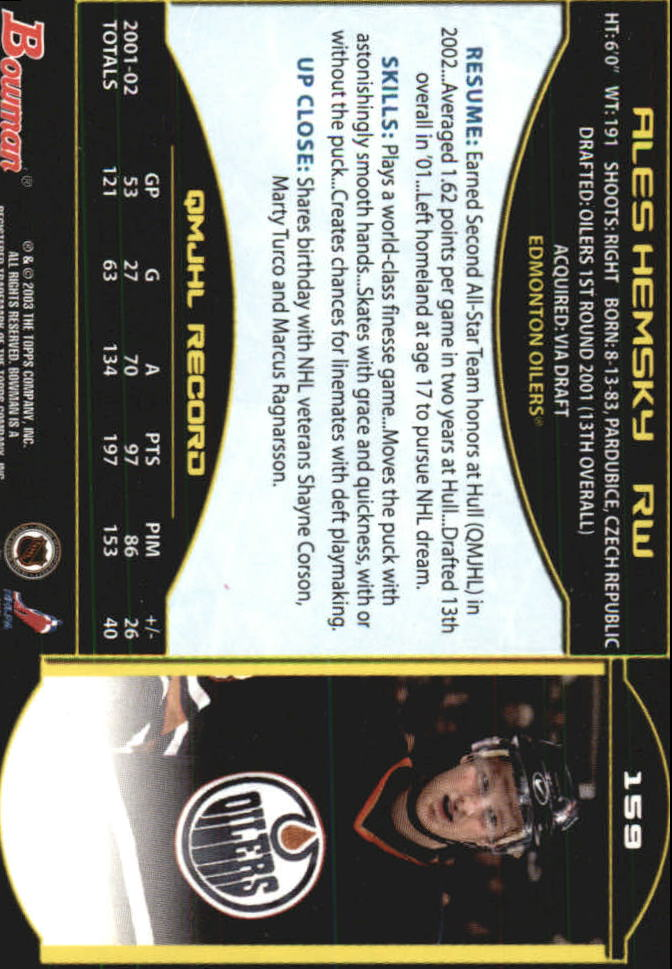 2002-03 Bowman YoungStars #159 Ales Hemsky RC back image
