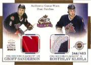 2002-03 Crown Royale Dual Patches #7 Geoff Sanderson/Rostislav Klesla/403