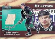 2002-03 Fleer Throwbacks Stickwork #4 Todd Ewen