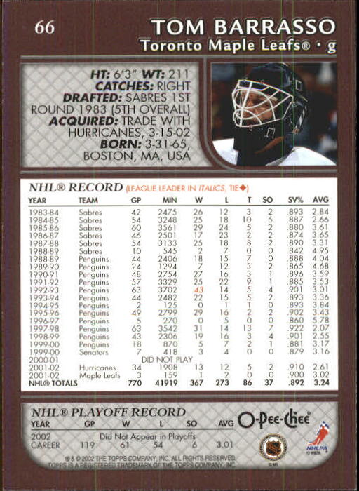 2002-03 O-Pee-Chee #66 Tom Barrasso back image