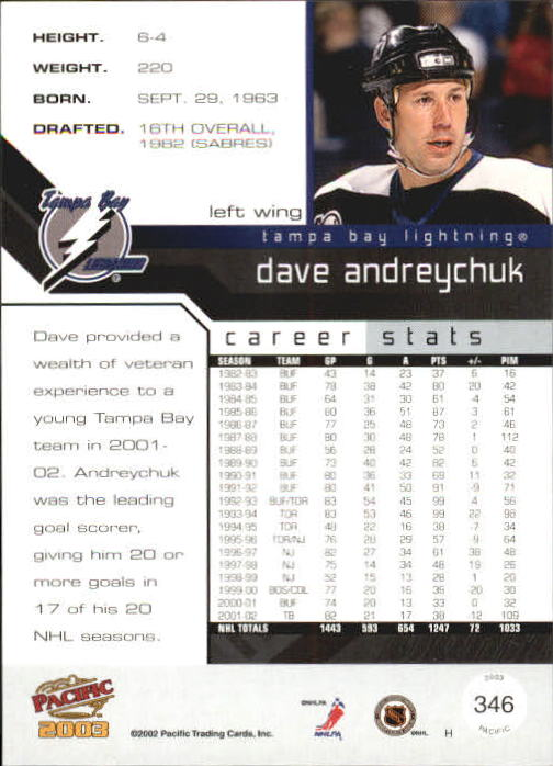 2002-03 Pacific #346 Dave Andreychuk back image