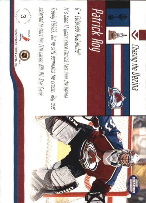 2002-03 Pacific Calder Chasing Glory #3 Patrick Roy back image