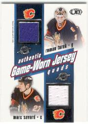 2002-03 Pacific Heads Up Quad Jerseys #5 Roman Turek/Marc Savard/Mike Comrie/Ryan Smyth