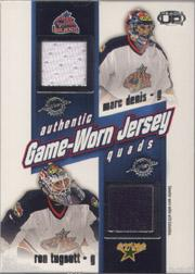 2002-03 Pacific Heads Up Quad Jerseys #10 Marc Denis/Ron Tugnutt/Rostislav Klesla/Geoff Sanderson