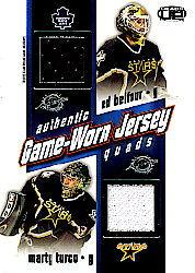 2002-03 Pacific Heads Up Quad Jerseys #11 Ed Belfour/Marty Turco/Pierre Turgeon/Mike Modano