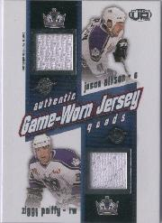 2002-03 Pacific Heads Up Quad Jerseys #13 Jason Allison/Ziggy Palffy/Felix Potvin/Bryan Smolinski