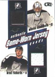 2002-03 Pacific Heads Up Quad Jerseys #25 Nikolai Khabibulin/Brad Richards/Valeri Bure/Roberto Luongo