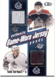 2002-03 Pacific Heads Up Quad Jerseys #27 Dan Cloutier/Todd Bertuzzi/Daniel Sedin/Henrik Sedin