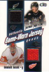 2002-03 Pacific Heads Up Quad Jerseys #32 Jaromir Jagr/Dominik Hasek/Milan Hejduk/Patrik Elias