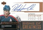 2002-03 Upper Deck Foundations Signs of Greatness #SGDH Dale Hawerchuk