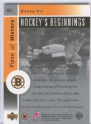 2002-03 UD Piece of History Hockey Beginnings #HB1 Bobby Orr back image