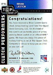 2002-03 UD Top Shelf Clutch Performers Jerseys #CPBL Brian Leetch back image