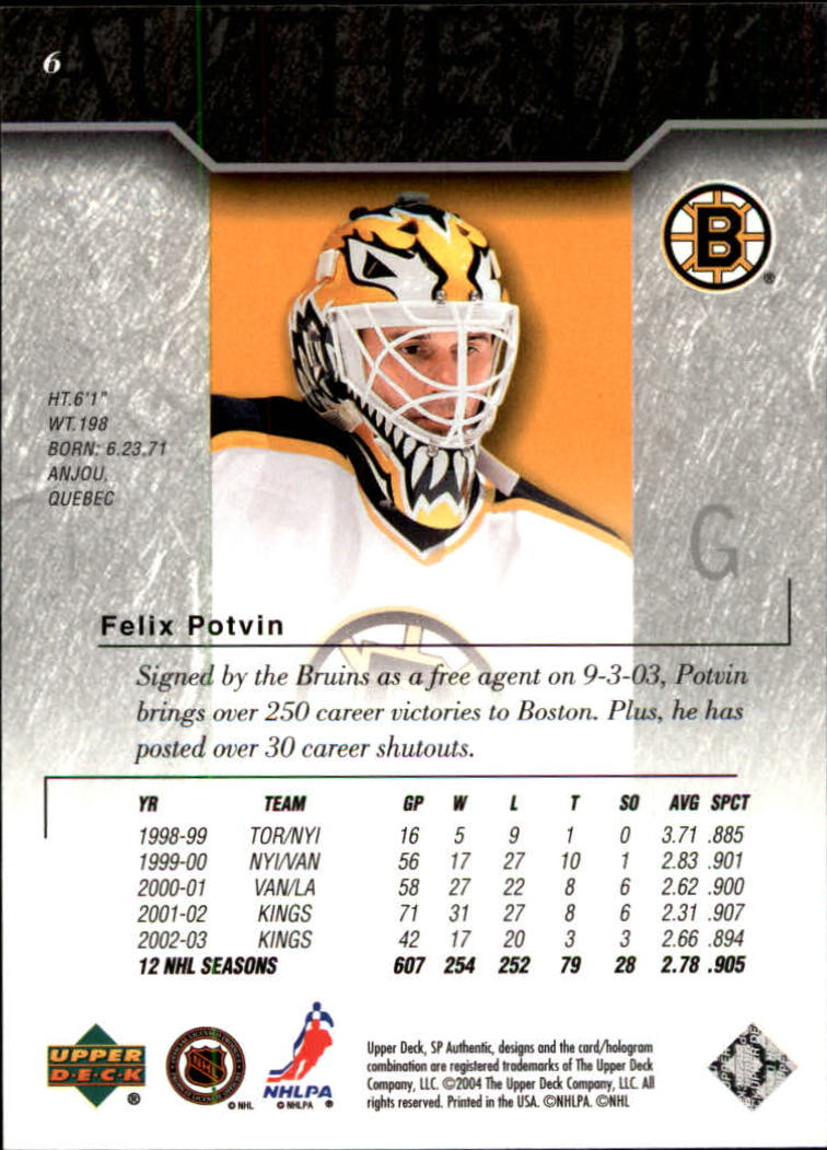2003-04 SP Authentic #6 Felix Potvin back image