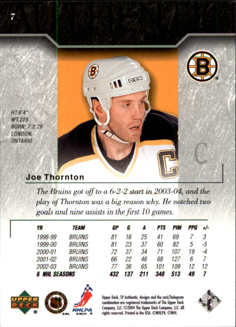 2003-04 SP Authentic #7 Joe Thornton back image