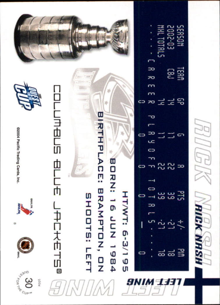 2003-04 Pacific Quest for the Cup #30 Rick Nash back image