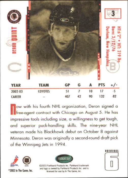 2003-04 Parkhurst Original Six Chicago #3 Deron Quint back image