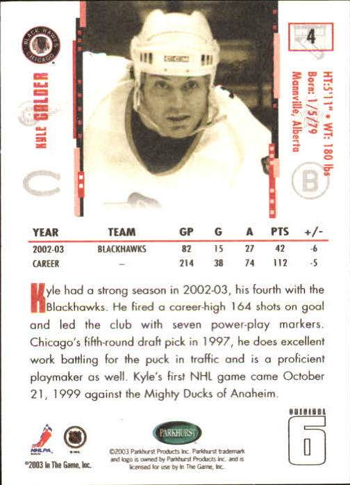 2003-04 Parkhurst Original Six Chicago #4 Kyle Calder back image