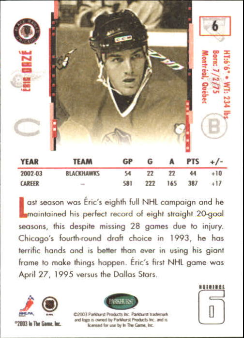2003-04 Parkhurst Original Six Chicago #6 Eric Daze back image