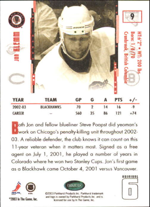 2003-04 Parkhurst Original Six Chicago #9 Jon Klemm