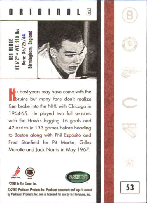 2003-04 Parkhurst Original Six Chicago #53 Ken Hodge back image