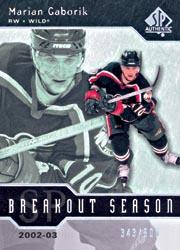 2003-04 SP Authentic Breakout Seasons #B11 Marian Gaborik
