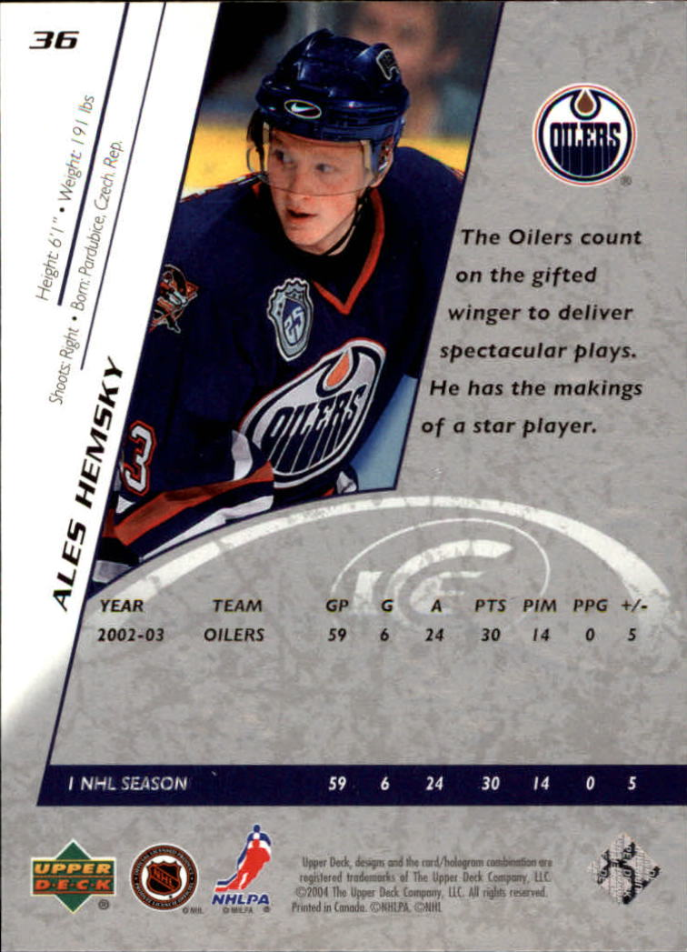 2003-04 Upper Deck Ice #36 Ales Hemsky back image