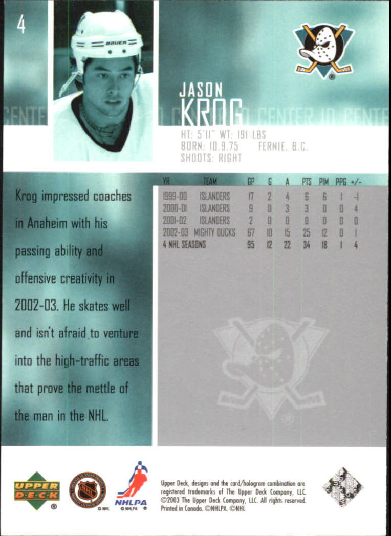 2003-04 Upper Deck #4 Jason Krog back image