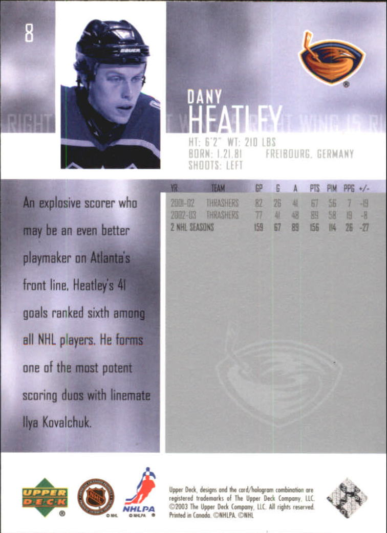 2003-04 Upper Deck #8 Dany Heatley back image