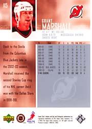 2003-04 Upper Deck #115 Grant Marshall back image