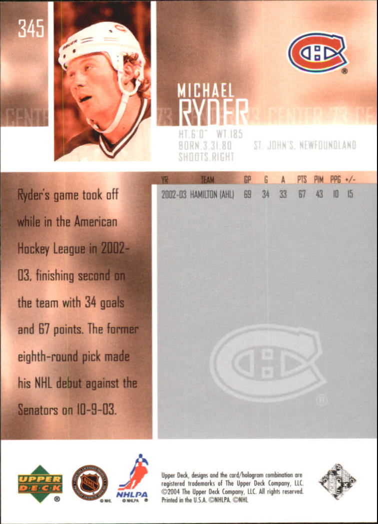 2003-04 Upper Deck #345 Michael Ryder back image