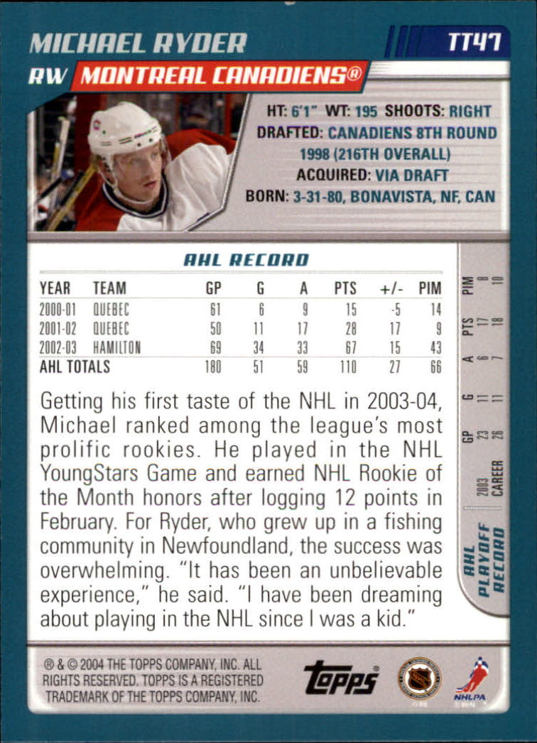 2003-04 Topps Traded #TT47 Michael Ryder back image