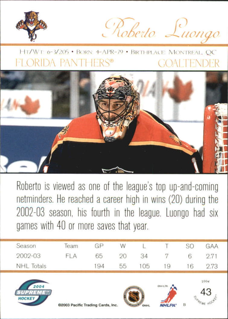 2003-04 Pacific Supreme Red #43 Roberto Luongo