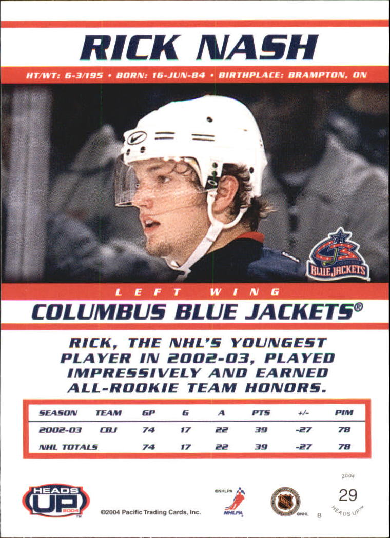 2003-04 Pacific Heads Up #29 Rick Nash back image